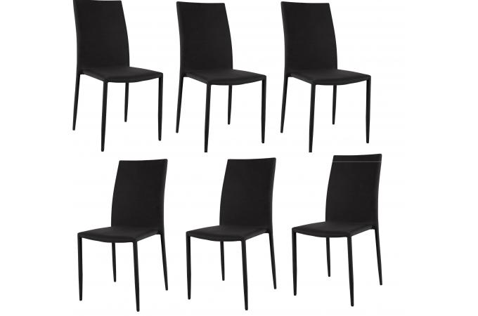 Lot de 6 chaises empilables noires design chaise pliante for Chaises empilables