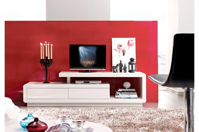Meuble TV Led Avec 2 Tiroirs Blanc  Meuble TV Pas Cher -> Meuble Tv Avec Tiroir Pas Cher