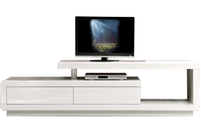Meuble tv led avec 2 tiroirs blanc meuble tv pas cher for Meuble tv blanc avec led