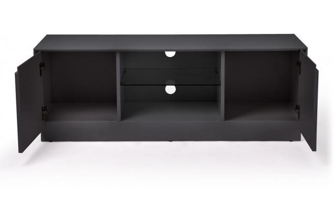 Meuble tv petit mod le soho 2 portes et 1 niche gris for Petit meuble tv gris