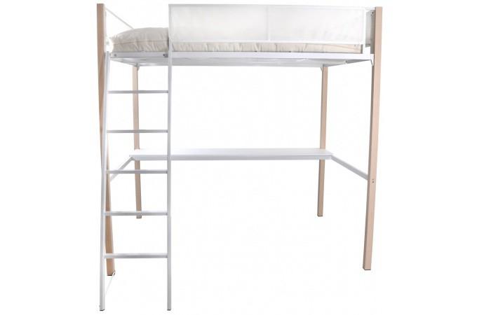 mezzanine 140x190 cm blanche lit enfant pas cher. Black Bedroom Furniture Sets. Home Design Ideas
