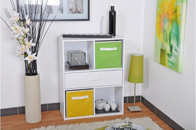 rangement 4 cases 1 tiroir blanc meuble de rangement pas cher. Black Bedroom Furniture Sets. Home Design Ideas
