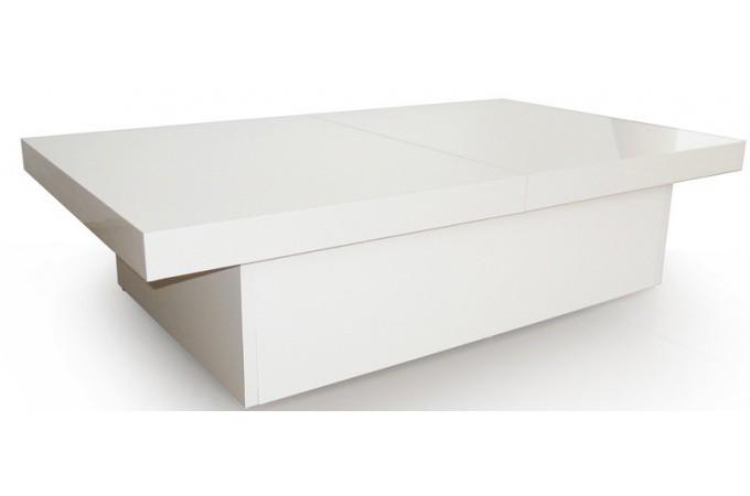 table basse blanche 2 plateaux coulissants triange table basse pas cher. Black Bedroom Furniture Sets. Home Design Ideas