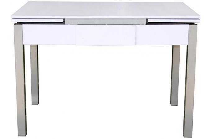 table extensible pieds poxy plateau blanc avec tiroir. Black Bedroom Furniture Sets. Home Design Ideas