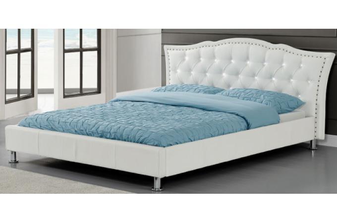 lit capitonn roma 160cm en blanc lit design pas cher. Black Bedroom Furniture Sets. Home Design Ideas