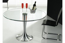 Table d'Appoint Table en verre ronde Iron effet chromé, deco design