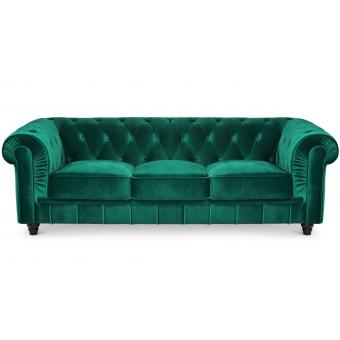 Grand Canapé Chesterfield 3 places Velours Vert LANOS - Canape 2 places design