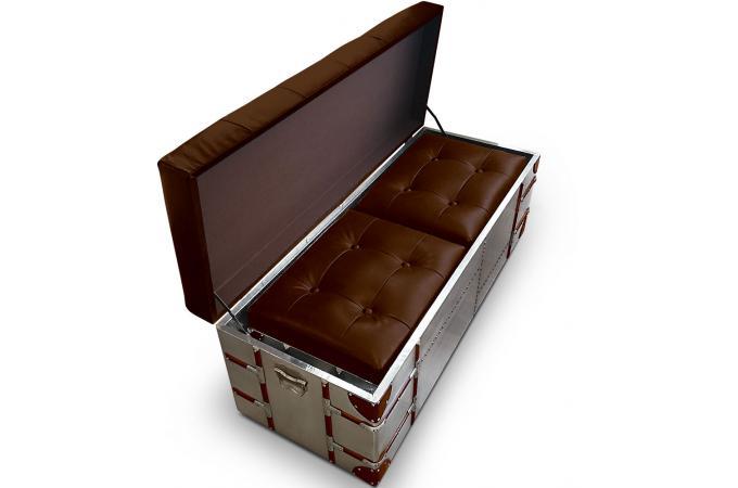 Banquette coffre et poufs m tal et simili cuir rico xl marron banquette am - Banquette coffre simili cuir ...