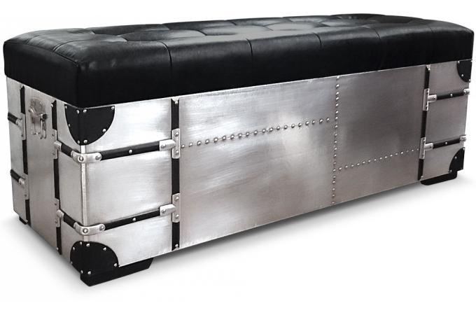 banquette coffre et poufs m tal et simili cuir rico xl noir banquette m ridienne pas cher. Black Bedroom Furniture Sets. Home Design Ideas