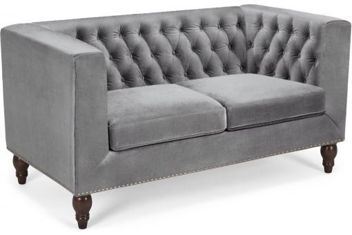 canap 2 places livara velours argent deco design. Black Bedroom Furniture Sets. Home Design Ideas