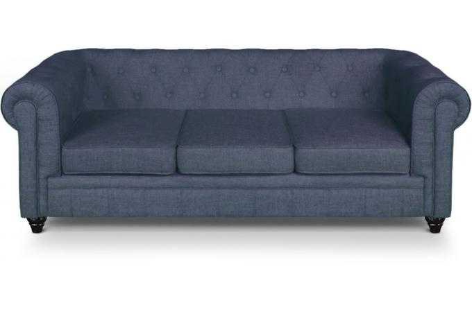 Canape 3 places chesterfield effet lin bleu canap 3 places et plus pas cher - Canape chesterfield lin ...