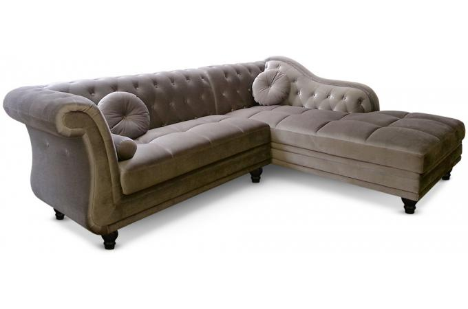 canap d 39 angle brittish velours taupe style chesterfield canap d 39 angle pas cher. Black Bedroom Furniture Sets. Home Design Ideas