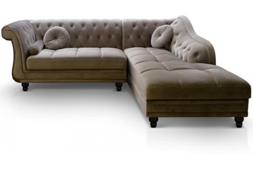 Canapé d'angle Brittish Velours Taupe style Chesterfield