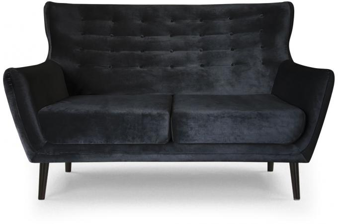canap scandinave 2 places depalma velours noir canap 2 places pas cher. Black Bedroom Furniture Sets. Home Design Ideas