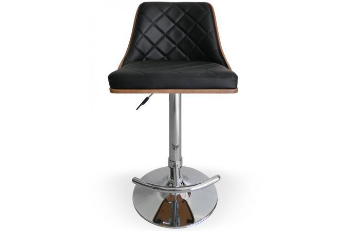 Declikdeco  Chaise de bar Cadix Bois Noisette & Noir