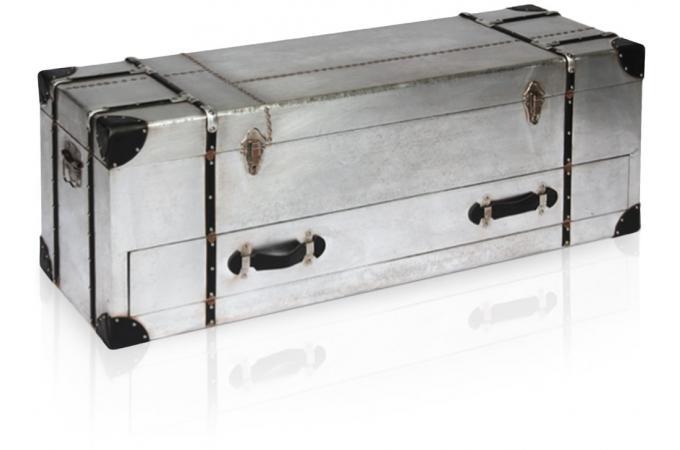 Coffre patel en m tal et simili cuir noir meuble de rangement pas cher - Coffre de rangement simili cuir ...