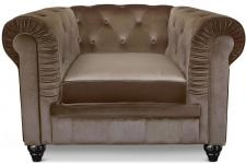 Fauteuil Chesterfield velours Taupe - Fauteuil chesterfield design