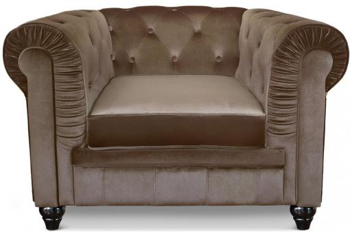 Fauteuil Chesterfield velours Taupe