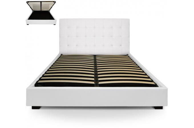 Lit coffre et sommier 180cm blanc lit design pas cher - Sommier coffre blanc ...