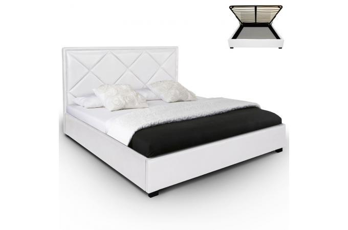 lit coffre et sommier blanc 180cm lit design pas cher. Black Bedroom Furniture Sets. Home Design Ideas