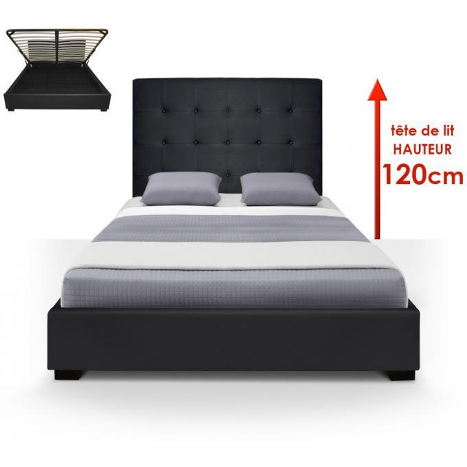 lit coffre trevene sommier 140cm noir chambre literie pas cher. Black Bedroom Furniture Sets. Home Design Ideas
