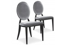 Chaise Design Lot de 2 chaises argentées en métal Nicosie, deco design