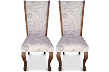 Chaise Design Lot de 2 chaises beiges en bois Santiago, deco design