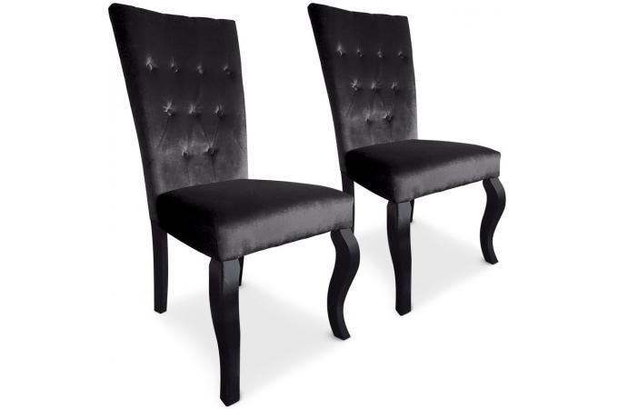 lot de 2 chaises capitonn es velours noir rockstar. Black Bedroom Furniture Sets. Home Design Ideas