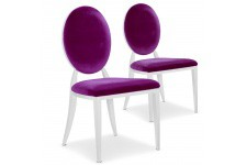 Chaise Design Lot de 2 chaises milk violet en métal Nicosie, deco design