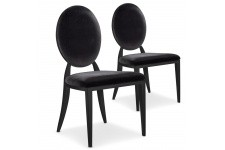 Chaise Design Lot de 2 chaises noires en métal Nicosie, deco design