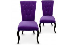 Chaise Design Lot de 2 chaises violettes en velours Port-Vila, deco design