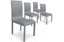 Chaise Design Lot de 4 chaises grises en métal Saint-Domingue, deco design