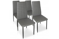 Chaise Design Lot de 4 chaises grises en métal Saint-Georges, deco design