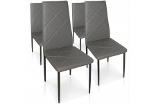 Chaise Design Lot de 4 chaises grises en métal Saint-Marin, deco design