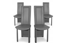 Chaise Design Lot de 4 chaises grises en métal Tokyo, deco design