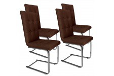 Chaise Design Lot de 4 chaises marrons en métal Ottawa, deco design