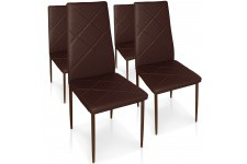 Chaise Design Lot de 4 chaises marron en métal Saint-Marin, deco design