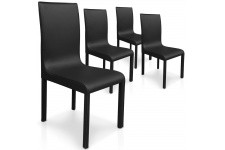 Chaise Design Lot de 4 chaises noires en métal Saint-Domingue, deco design