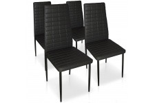 Chaise Design Lot de 4 chaises noires en métal Saint-Georges, deco design