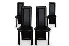 Chaise Design Lot de 4 chaises noires en métal Tokyo, deco design