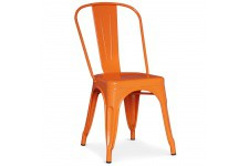 Chaise Design Lot de 4 chaises oranges en métal Prague, deco design