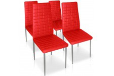 Chaise Design Lot de 4 chaises rouges en métal Saint-Georges, deco design