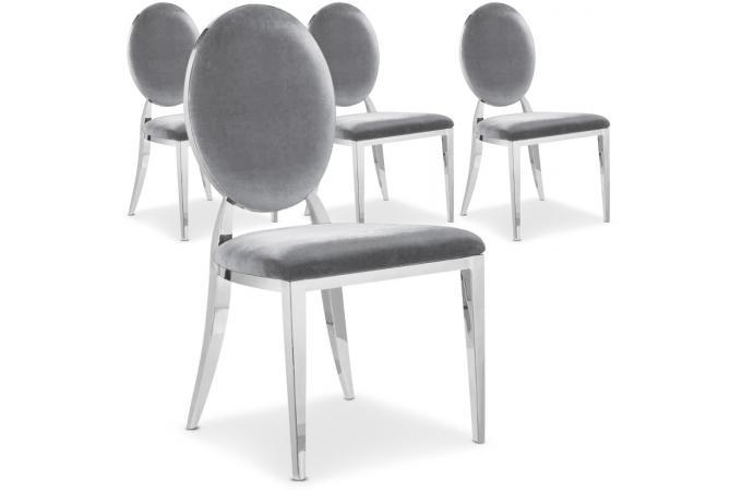 Lot de 4 chaises sofia velours argent chaise design pas cher - Lot de chaises design pas cher ...