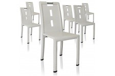 Chaise Design Lot de 6 chaises blanches Oslo, deco design