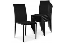 Chaise Design Lot de 6 chaises empilables noires en tissu Suva, deco design