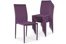 Chaise Design Lot de 6 chaises empilables violettes en tissu Suva, deco design