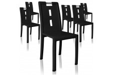 Chaise Design Lot de 6 chaises noires Oslo, deco design
