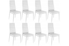 Chaise Design Lot de 8 chaises blanches en métal San José, deco design