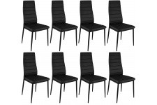 Chaise Design Lot de 8 chaises noires en métal San José, deco design