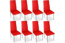 Chaise Design Lot de 8 chaises rouges en métal Saint-Georges, deco design